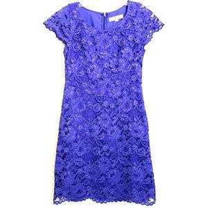 Loft Purple Lace Sheath Dress Scalloped Hem